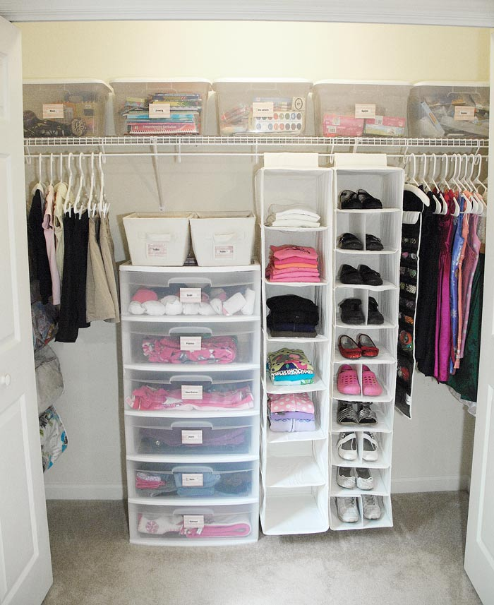 Closet after. Cheap organizing solutions   Living Rich on LessLiving Rich on Less