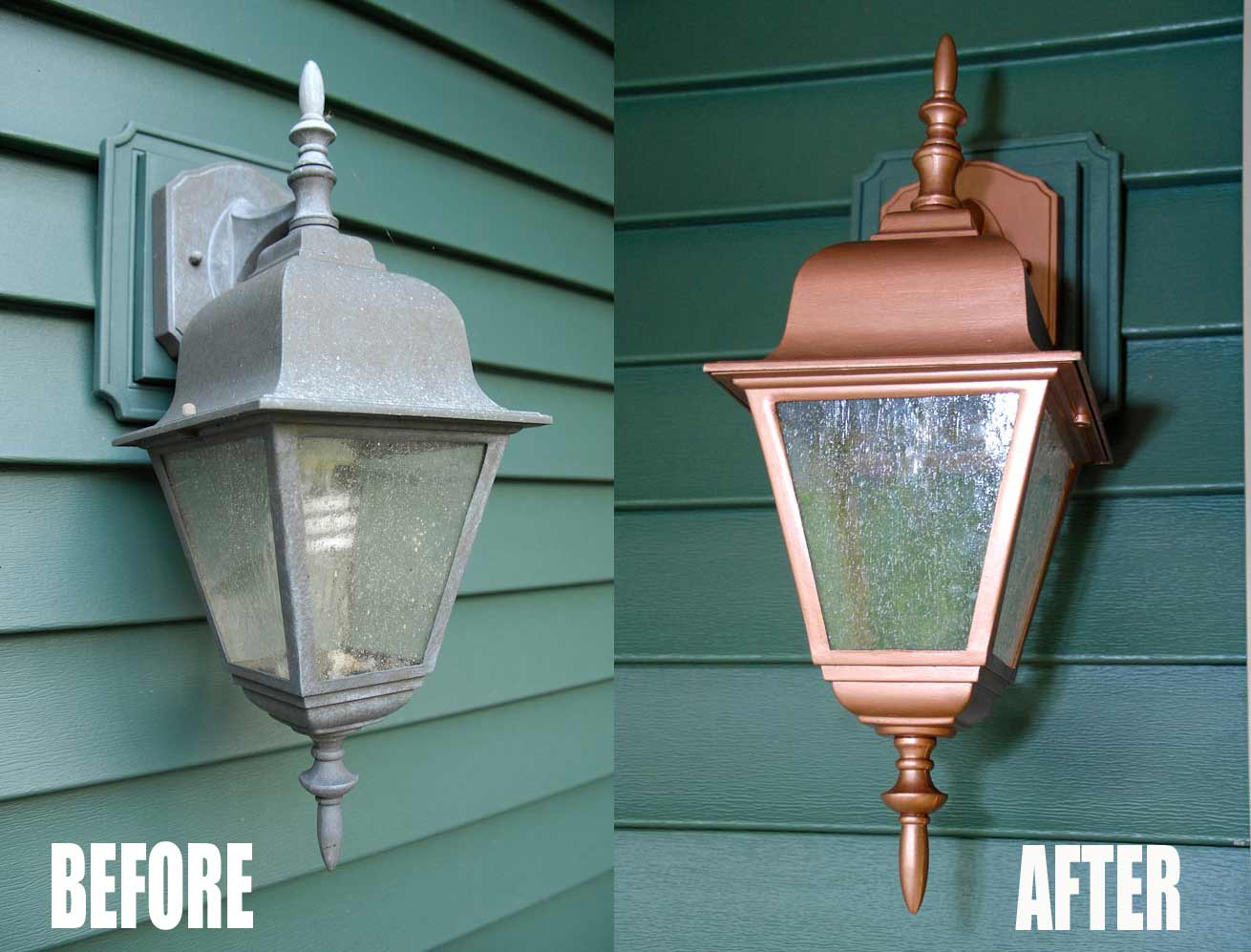 Easy thrifty exterior light makeover living rich on lessliving light before and after arubaitofo Images