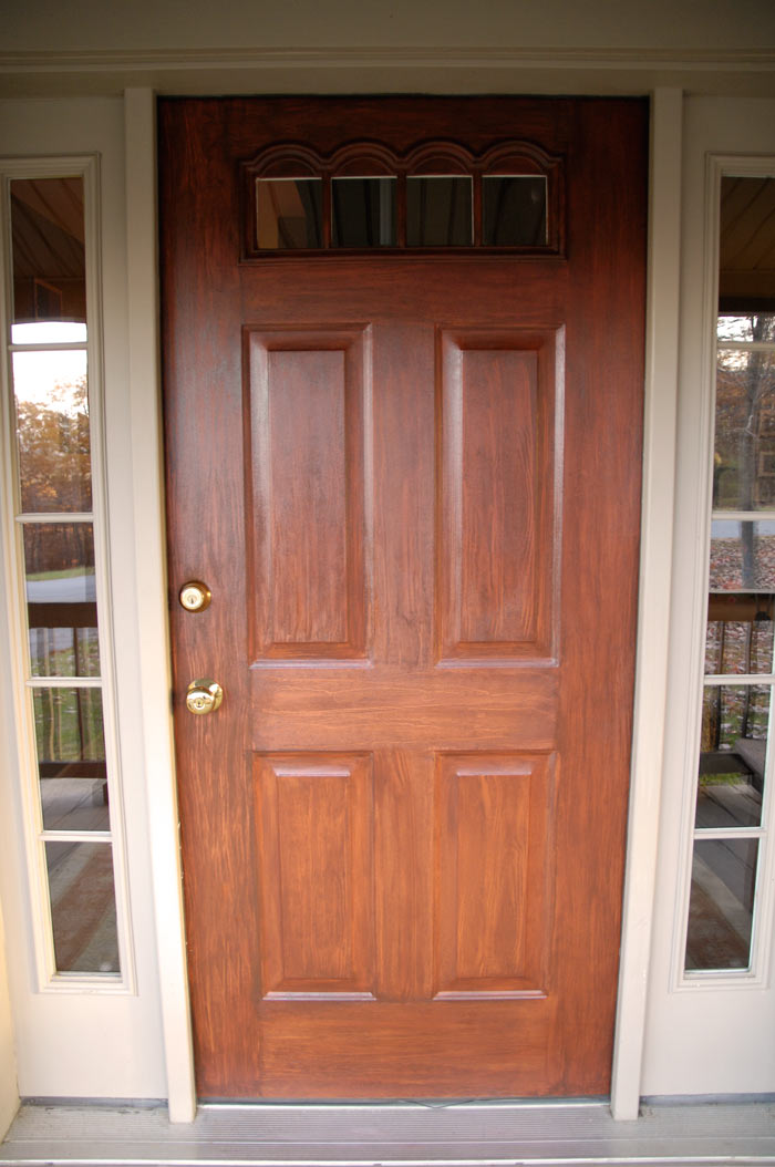 Front door redo using faux wood grain technique living for Wood doors painted white