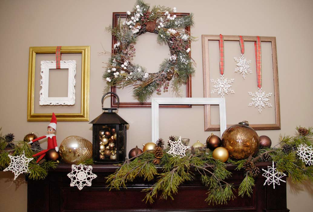 Empty frames holiday mantel decor living rich on for What to do with empty picture frames