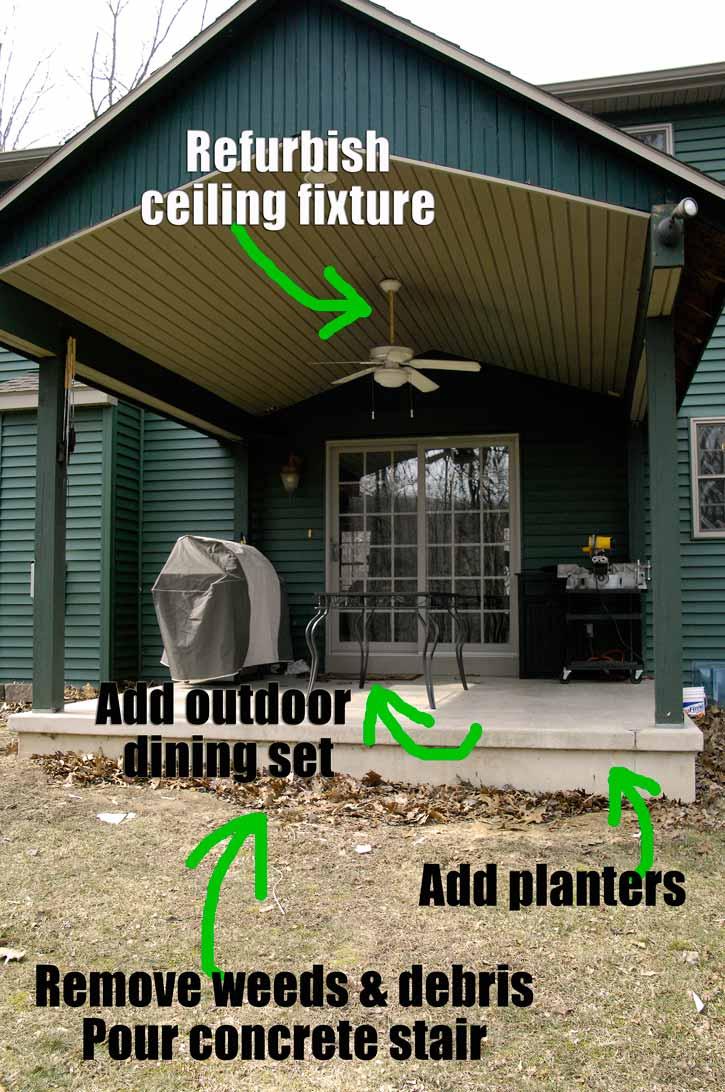 Big Plans Little Budget Soffit B Gone: Budget-friendly Backyard Patio Reveal