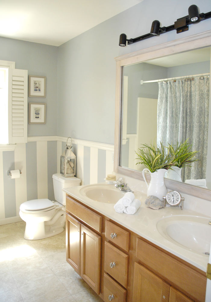 DIY driftwood mirror right side. Bathroom vanity makeover   how to brush paint cabinets Living