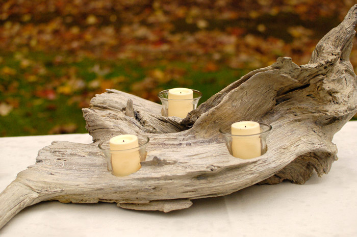 Diy driftwood candle holder plus a giveaway winner for How to make driftwood crafts