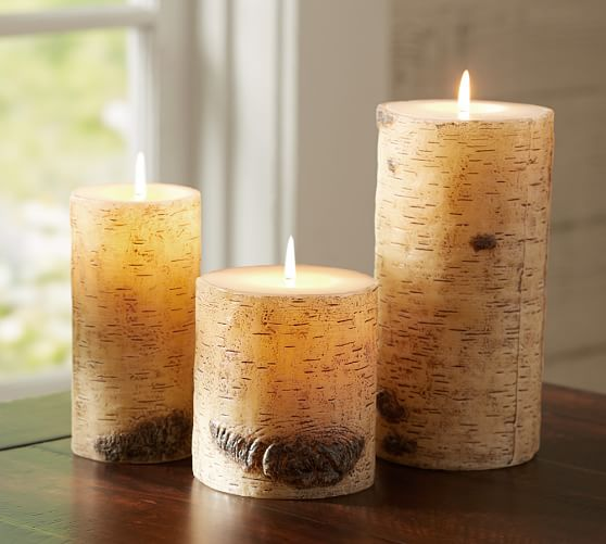 Pottery Barn Painted Birch candles