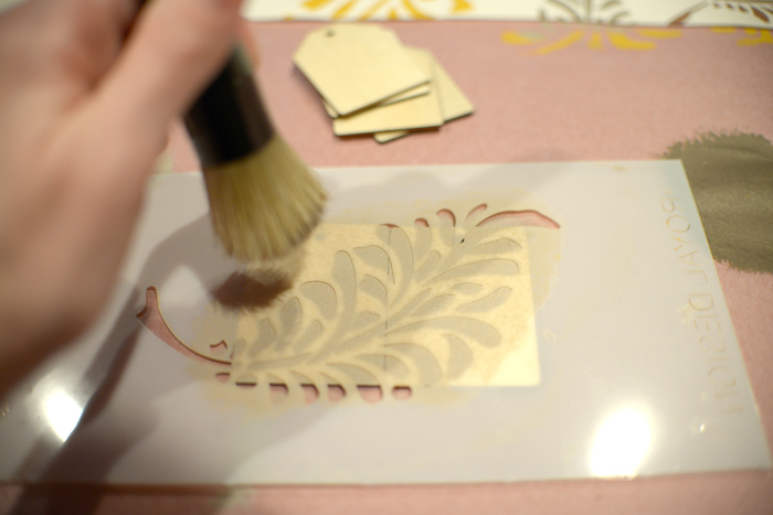 Stenciling-wooden-tags