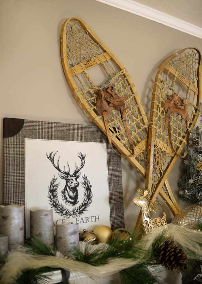 Snowshoes-on-mantel