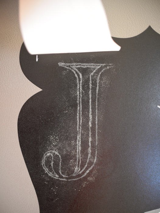 Traced-chalk-letter