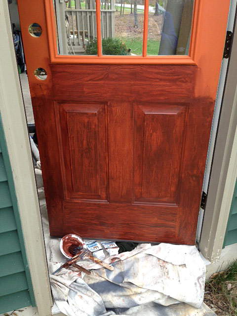 What kind of paint for steel entry door do it yourself Wood paneling transformation