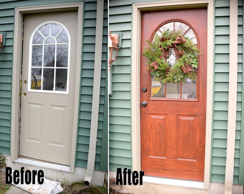 Thrifty transformation how to paint a door to look like woodliving rich on less - Painting a steel exterior door model ...