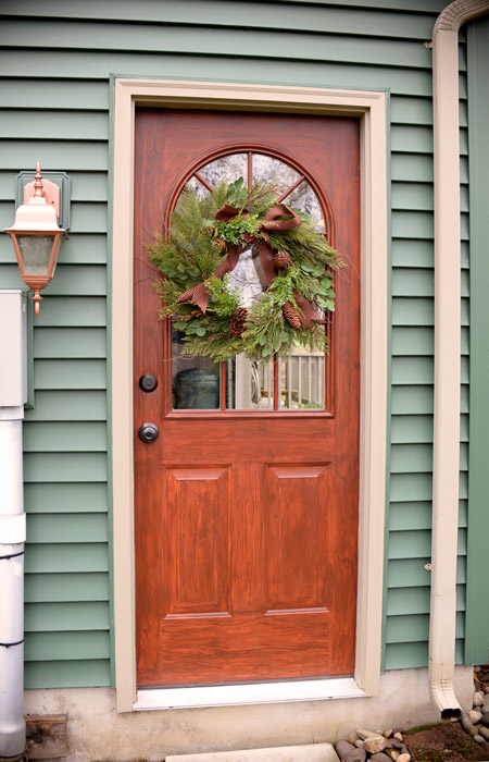 Thrifty transformation how to paint a door to look like for Faux wood front doors