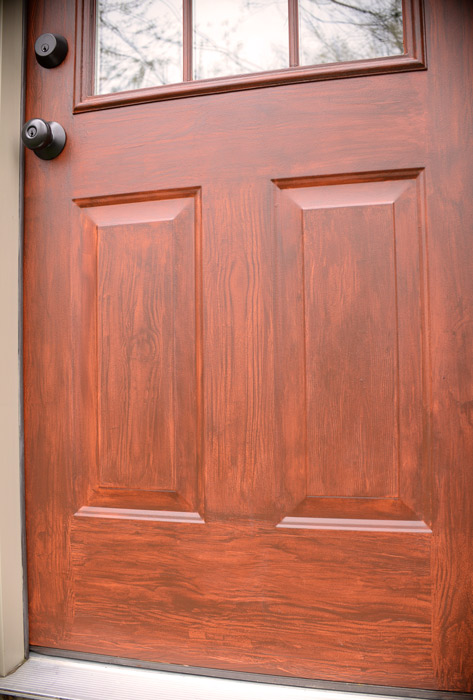 Faux wood door wood grain paint technique how to paint for Paint garage door to look like wood