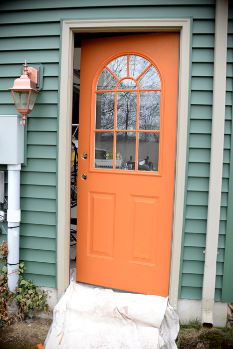 Side-door-before & Thrifty transformation: How to paint a door to look like woodLiving ...