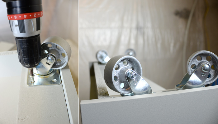 Attaching-wheels-to-IKEA-shelf