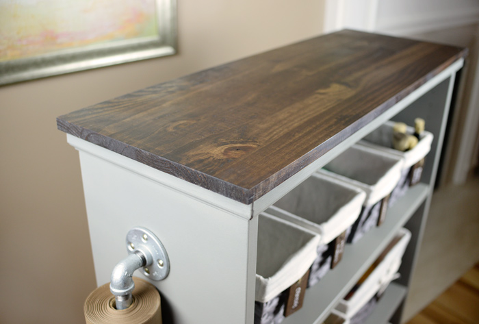 Stained-top-for-IKEA-Billy-Bookcase