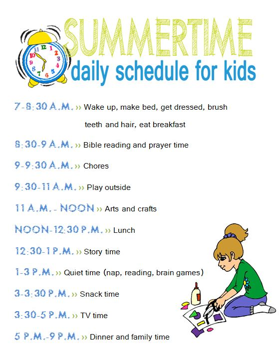 Summertime daily schedule and chore chart for kidsLiving Rich on Less