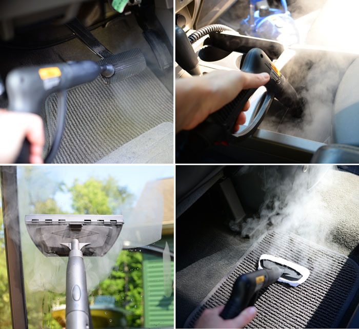 Cleaning a car with the AutoRight Steamer