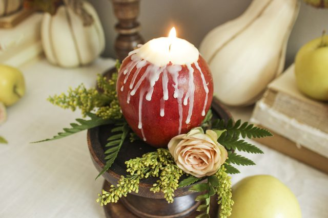 DIY apple candle