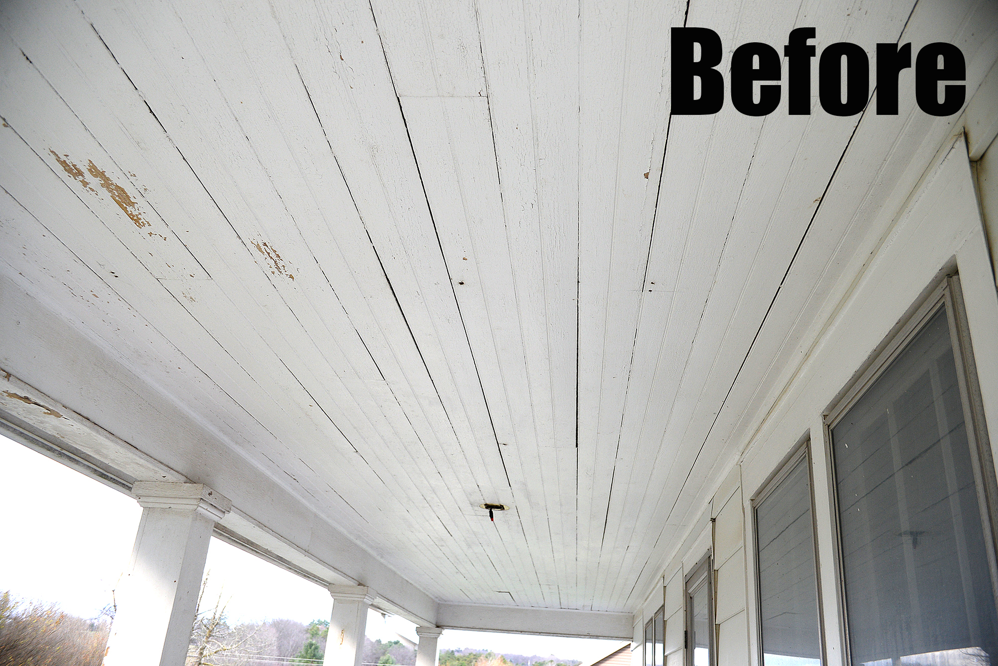 Porch ceiling before