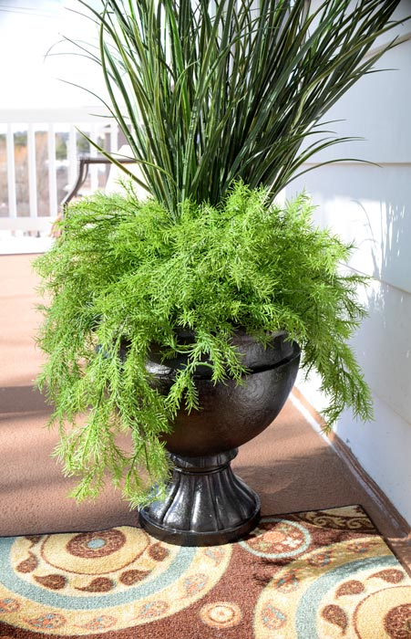 Planter-with-faux-greenery