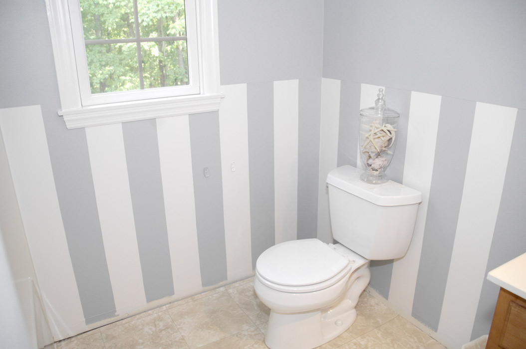 Easy Diy Wall Stripes In The Bathroom Living Rich On