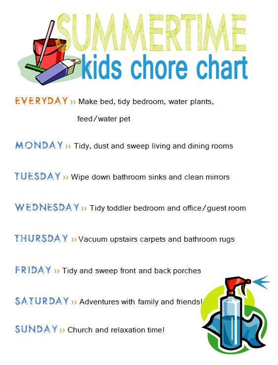 Summertime Daily Schedule And Chore Chart For Kidsliving